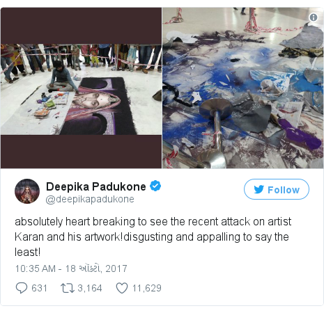 Twitter post by @deepikapadukone: absolutely heart breaking to see the recent attack on artist Karan and his artwork!disgusting and appalling to say the least!