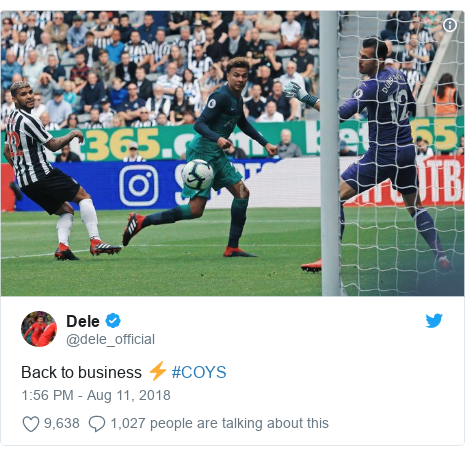 Twitter post by @dele_official: Back to business ⚡️ #COYS