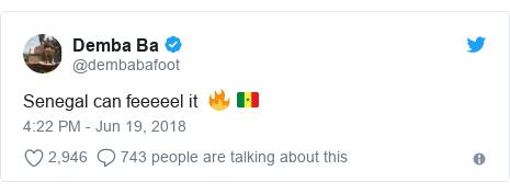 Twitter post by @dembabafoot: Senegal can feeeeel it  🔥 🇸🇳