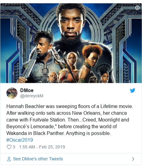 """Twitter post by @dereyckM: Hannah Beachler was sweeping floors of a Lifetime movie. After walking onto sets across New Orleans, her chance came with Fruitvale Station. Then...Creed, Moonlight and Beyoncé's Lemonade,"""" before creating the world of Wakanda in Black Panther. Anything is possible. #Oscar2019"""
