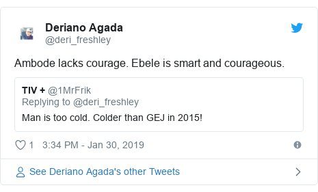 Twitter post by @deri_freshley: Ambode lacks courage. Ebele is smart and courageous.