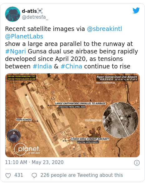 Twitter post by @detresfa_: Recent satellite images via @sbreakintl @PlanetLabsshow a large area parallel to the runway at #Ngari Gunsa dual use airbase being rapidly developed since April 2020, as tensions between #India & #China continue to rise