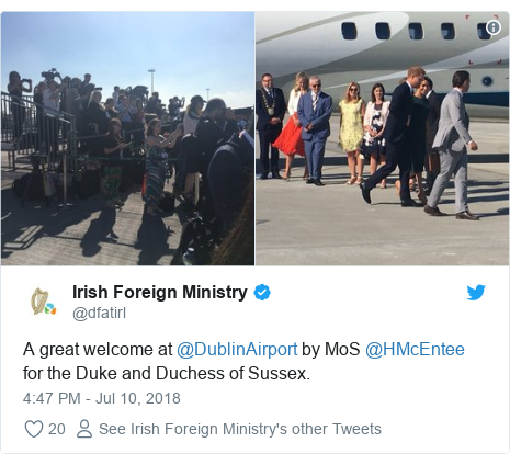Twitter post by @dfatirl: A great welcome at @DublinAirport by MoS @HMcEntee for the Duke and Duchess of Sussex.