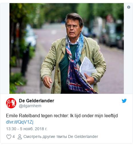 Twitter пост, автор: @dgarnhem: Emile Ratelband tegen rechter  Ik lijd onder mijn leeftijd