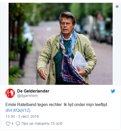 Twitter допис, автор: @dgarnhem: Emile Ratelband tegen rechter  Ik lijd onder mijn leeftijd