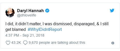 Twitter post by @dhlovelife: I did, it didn't matter, I was dismissed, disparaged, & I still get blamed  #WhyIDidntReport