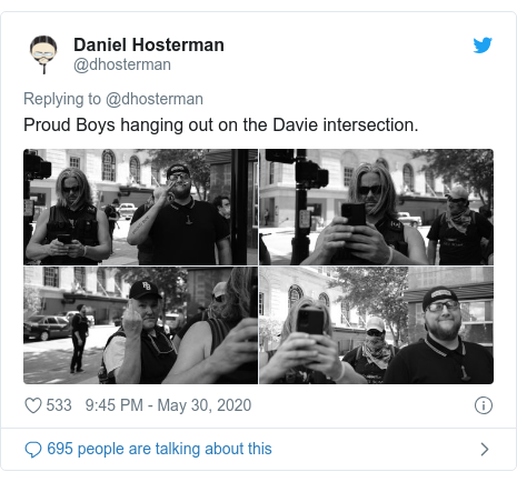Twitter post by @dhosterman: Proud Boys hanging out on the Davie intersection.
