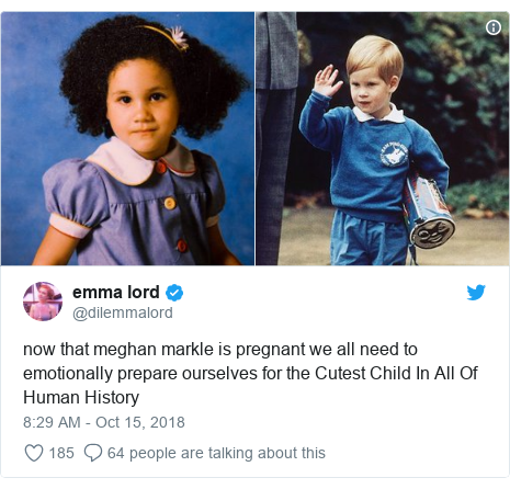 Twitter post by @dilemmalord: now that meghan markle is pregnant we all need to emotionally prepare ourselves for the Cutest Child In All Of Human History
