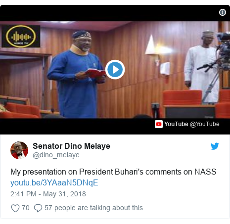 Twitter post by @dino_melaye: My presentation on President Buhari's comments on NASS
