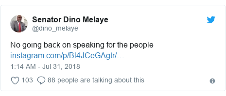Twitter post by @dino_melaye: No going back on speaking for the people