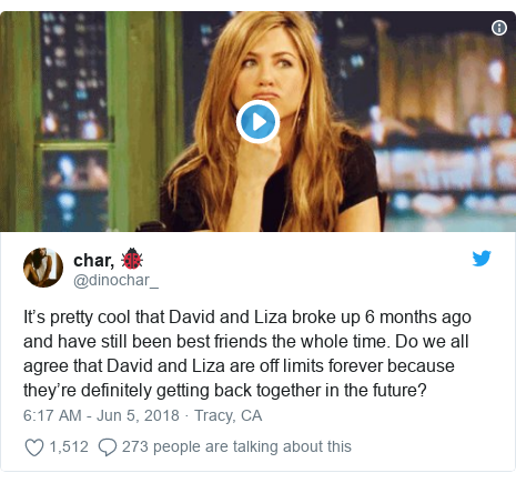 Twitter post by @dinochar_: It's pretty cool that David and Liza broke up 6 months ago and have still been best friends the whole time. Do we all agree that David and Liza are off limits forever because they're definitely getting back together in the future?