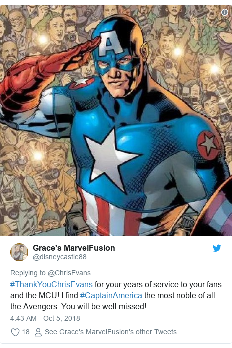 Twitter post by @disneycastle88: #ThankYouChrisEvans for your years of service to your fans and the MCU! I find #CaptainAmerica the most noble of all the Avengers. You will be well missed!