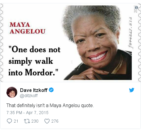 Twitter post by @ditzkoff: That definitely isn't a Maya Angelou quote.