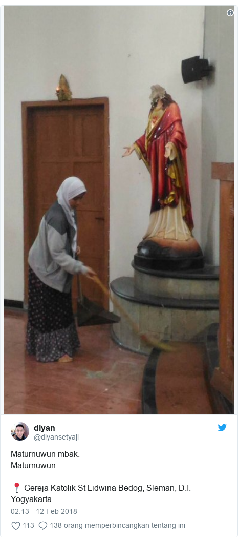 Twitter pesan oleh @diyansetyaji: Maturnuwun mbak.Maturnuwun.📍 Gereja Katolik St Lidwina Bedog, Sleman, D.I. Yogyakarta.