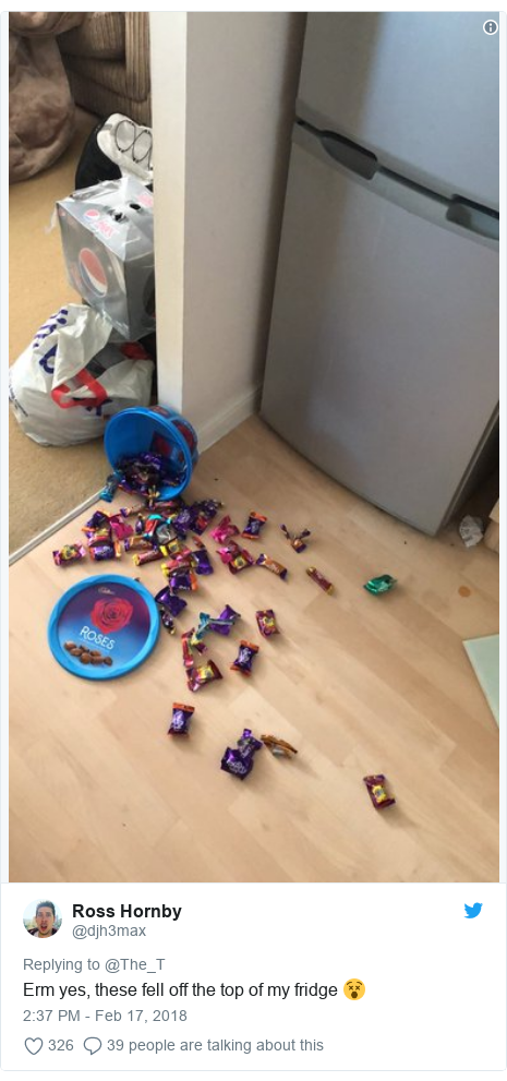 Twitter post by @djh3max: Erm yes, these fell off the top of my fridge 😵