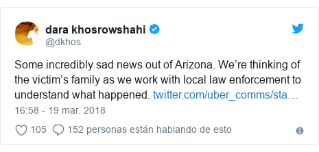Publicación de Twitter por @dkhos: Some incredibly sad news out of Arizona. We're thinking of the victim's family as we work with local law enforcement to understand what happened.
