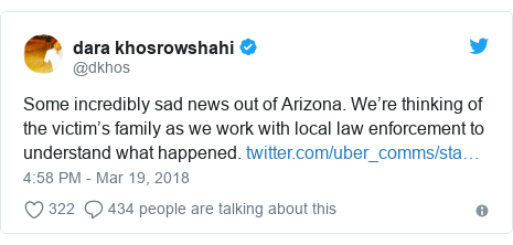Twitter post by @dkhos: Some incredibly sad news out of Arizona. We're thinking of the victim's family as we work with local law enforcement to understand what happened.
