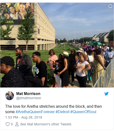 Twitter post by @dmatmorrison: The love for Aretha stretches around the block, and then some #ArethaQueenForever #Detroit #QueenOfSoul