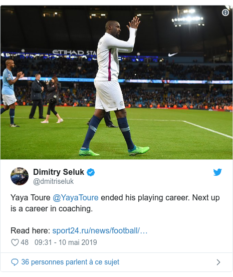 Twitter publication par @dmitriseluk: Yaya Toure @YayaToure ended his playing career. Next up is a career in coaching. Read here