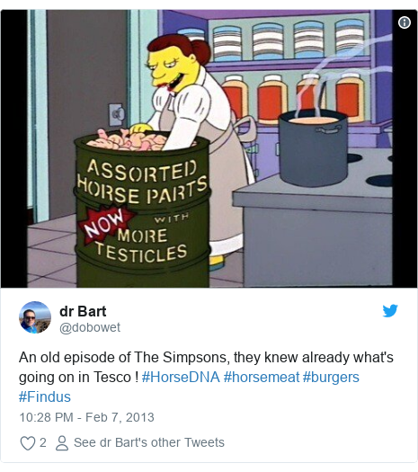 Twitter post by @dobowet: An old episode of The Simpsons, they knew already what's going on in Tesco ! #HorseDNA #horsemeat #burgers #Findus