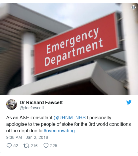 Twitter post by @docfawcett: As an A&E consultant @UHNM_NHS I personally apologise to the people of stoke for the 3rd world conditions of the dept due to #overcrowding