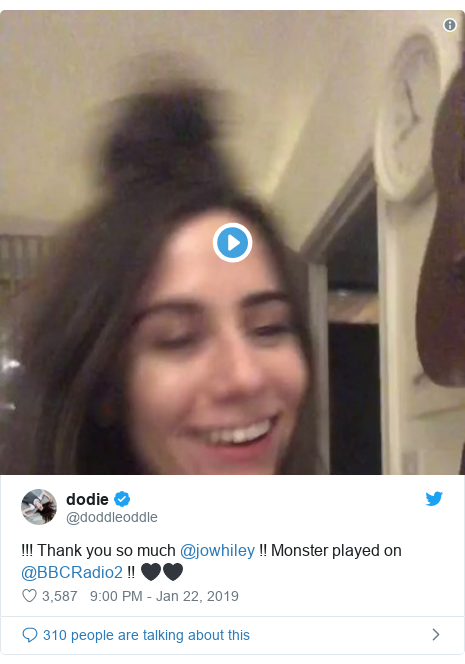 Twitter post by @doddleoddle: !!! Thank you so much @jowhiley !! Monster played on @BBCRadio2 !! 🖤🖤