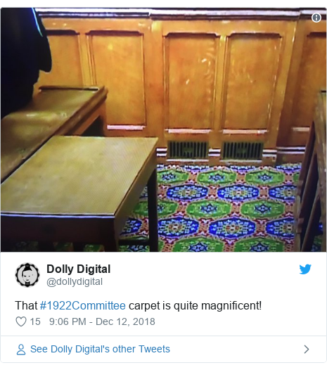 Twitter post by @dollydigital: That #1922Committee carpet is quite magnificent!