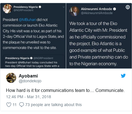 Twitter post by @dondekojo: How hard is it for communications team to.... Communicate.