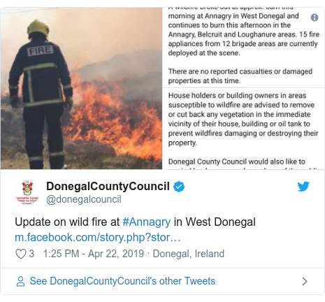 Twitter post by @donegalcouncil: Update on wild fire at #Annagry in West Donegal