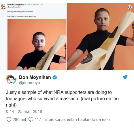 Publicación de Twitter por @donmoyn: Justy a sample of what NRA supporters are doing to teenagers who survived a massacre (real picture on the right).