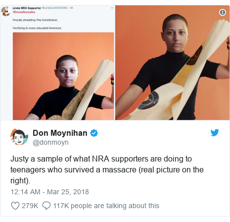 Twitter post by @donmoyn: Justy a sample of what NRA supporters are doing to teenagers who survived a massacre (real picture on the right).