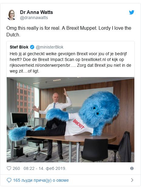 Twitter post by @drannawatts: Omg this really is for real. A Brexit Muppet. Lordy I love the Dutch.