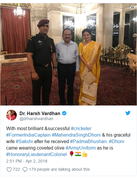 Twitter post by @drharshvardhan: With most brilliant &successful #cricketer #FormerIndiaCaptain #MahendraSinghDhoni & his graceful wife #Sakshi after he received #PadmaBhushan. #Dhoni came wearing coveted olive #ArmyUniform as he is #HonoraryLieutenantColonel 🌹🇮🇳👍