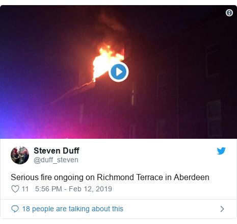 Twitter post by @duff_steven: Serious fire ongoing on Richmond Terrace in Aberdeen