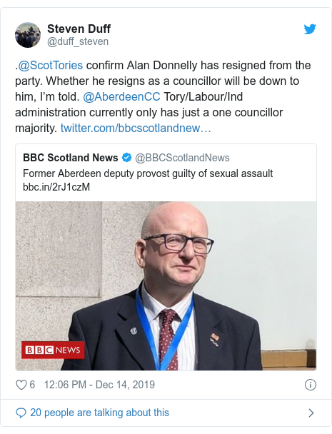 Twitter post by @duff_steven: .@ScotTories confirm Alan Donnelly has resigned from the party. Whether he resigns as a councillor will be down to him, I'm told. @AberdeenCC Tory/Labour/Ind administration currently only has just a one councillor majority.