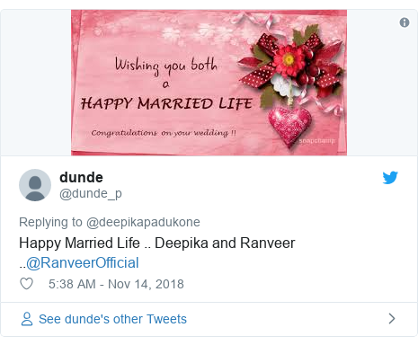 Twitter post by @dunde_p: Happy Married Life .. Deepika and Ranveer ..@RanveerOfficial