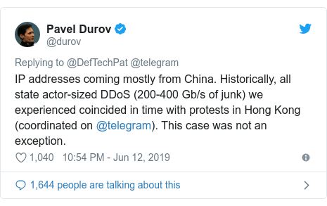 Twitter post by @durov: IP addresses coming mostly from China. Historically, all state actor-sized DDoS (200-400 Gb/s of junk) we experienced coincided in time with protests in Hong Kong (coordinated on @telegram). This case was not an exception.