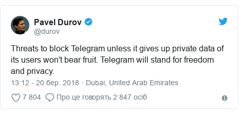 Twitter допис, автор: @durov: Threats to block Telegram unless it gives up private data of its users won't bear fruit. Telegram will stand for freedom and privacy.