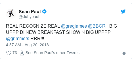 Twitter post by @duttypaul: REAL RECOGNIZE REAL @gregjames @BBCR1 BIG UPPP DI NEW BREAKFAST SHOW N BIG UPPPP @grimmers RRR!!!