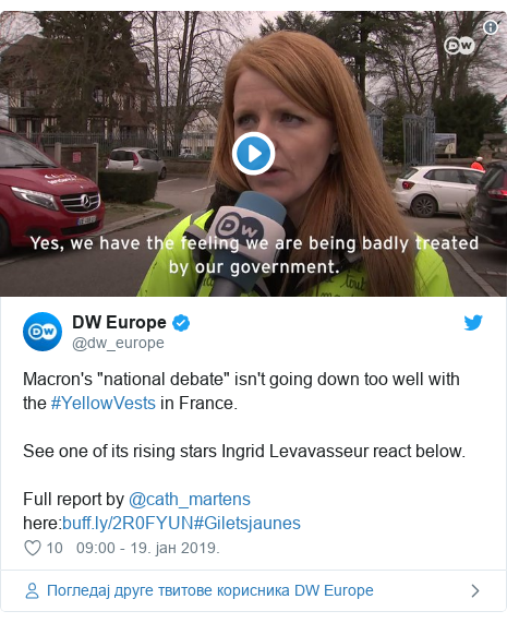 """Twitter post by @dw_europe: Macron's """"national debate"""" isn't going down too well with the #YellowVests in France.See one of its rising stars Ingrid Levavasseur react below.Full report by @cath_martens here #Giletsjaunes"""