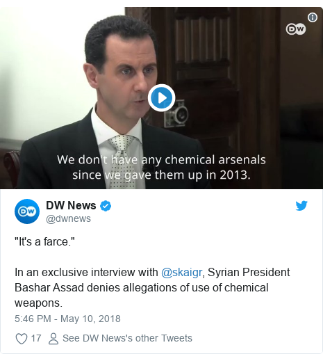 "Twitter post by @dwnews: ""It's a farce.""In an exclusive interview with @skaigr, Syrian President Bashar Assad denies allegations of use of chemical weapons."