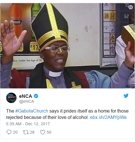 Ujumbe wa Twitter wa @eNCA: The #GabolaChurch says it prides itself as a home for those rejected because of their love of alcohol.