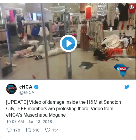 Twitter post by @eNCA: [UPDATE] Video of damage inside the H&M at Sandton City,  EFF members are protesting there. Video from eNCA's Masechaba Mogane