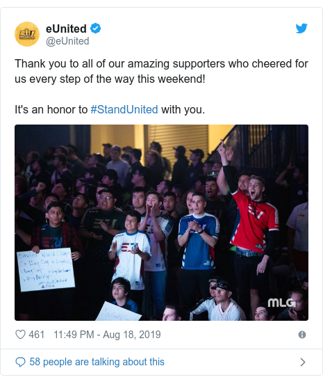 Twitter post by @eUnited: Thank you to all of our amazing supporters who cheered for us every step of the way this weekend!It's an honor to #StandUnited with you.