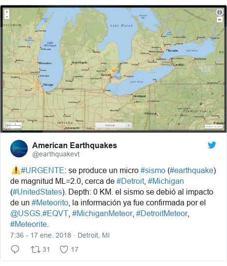 Publicación de Twitter por @earthquakevt: ⚠️#URGENTE  se produce un micro #sismo (#earthquake) de magnitud ML=2.0, cerca de #Detroit, #Michigan (#UnitedStates). Depth  0 KM. el sismo se debió al impacto de un #Meteorito, la información ya fue confirmada por el @USGS.#EQVT, #MichiganMeteor, #DetroitMeteor, #Meteorite.