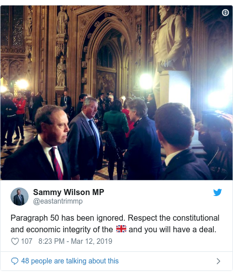 Twitter post by @eastantrimmp: Paragraph 50 has been ignored. Respect the constitutional and economic integrity of the 🇬🇧 and you will have a deal.