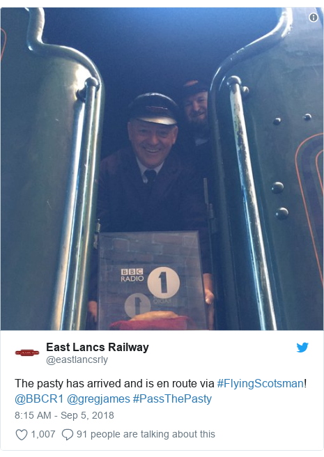 Twitter post by @eastlancsrly: The pasty has arrived and is en route via #FlyingScotsman! @BBCR1 @gregjames #PassThePasty