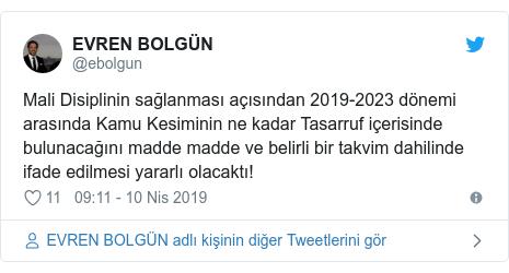 @ebolgun tarafından yapılan Twitter paylaşımı: Mali Disiplinin sağlanması açısından 2019-2023 dönemi arasında Kamu Kesiminin ne kadar Tasarruf içerisinde bulunacağını madde madde ve belirli bir takvim dahilinde ifade edilmesi yararlı olacaktı!