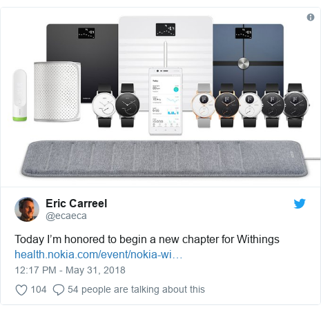 Twitter post by @ecaeca: Today I'm honored to begin a new chapter for Withings