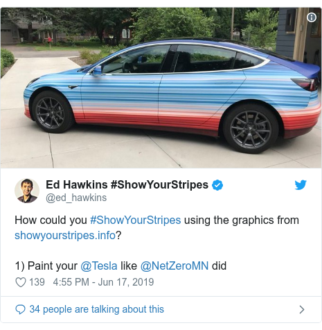 Twitter post by @ed_hawkins: How could you #ShowYourStripes using the graphics from ?1) Paint your @Tesla like @NetZeroMN did